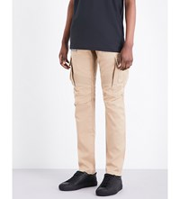 Balmain Slim Fit Cotton Twill Cargo Trousers Beige