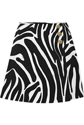 Versus Pleated Zebra Print Twill Mini Skirt