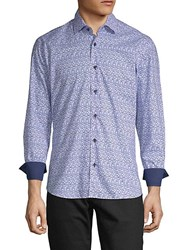 Bertigo Gradient Square Cotton Button Down Shirt Blue