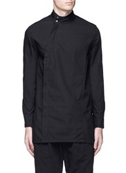 The Viridi Anne Asymmetric Button Collar Cotton Shirt Black