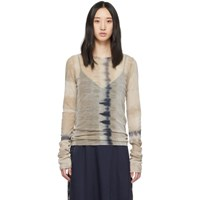 Raquel Allegra Brown Mesh Fitted Long Sleeve T Shirt