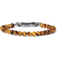 Bottega Veneta Oxidised Silver Tiger's Eye Bracelet Tan