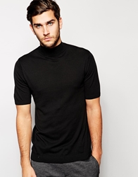 Asos Knitted T Shirt With Turtle Neck Black