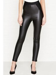 Karen Millen Jersey And Faux Leather Legging Black