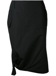 Max Mara Tie Detail Draped Skirt Women Cotton 40 Black