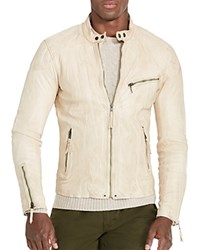 Polo Ralph Lauren Lambskin Leather Cafe Racer Jacket Antique Beige