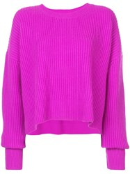 Re Done Ribbed Trapeze Sweater Pink And Purple