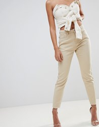 Missguided Riot High Waisted Mom Jeans Beige