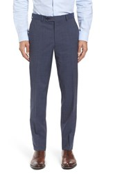 Ted Baker Men's London Flat Front Check Wool Trousers Blue