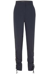 Cedric Charlier Lace Up Wool Blend Tapered Pants Navy