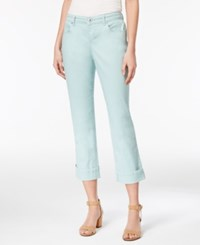 Style And Co Co. Curvy Cuffed Capri Jeans Only At Macy's Aquamint