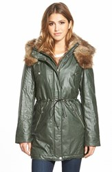 Women's Marc New York 'Lauren' Faux Fur Trim Drawstring Waist Parka