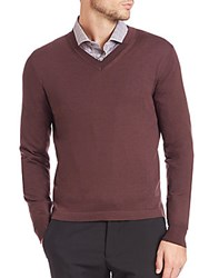 Pal Zileri Wool V Neck Sweater Brown