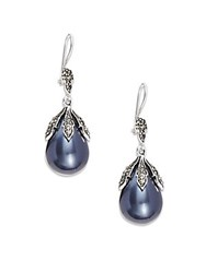 Azaara Vintage By 13Mm Pear Majorca Pearl Black Diamond Swarovski Crystal Silverplated Silver And Copper Drop Earrings
