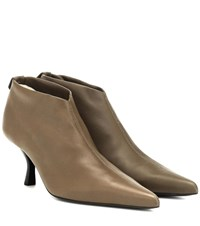 The Row Bourgeoise Leather Ankle Boots Green