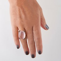 Gfg Jewellery Niki Ring Rose Quartz Blue Sapphires Gold Blue Pink
