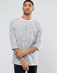 Asos Stripe Oversized 3 4 Sleeve T Shirt White