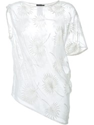 Ann Demeulemeester Asymmetric Sheer Embroidered Top White