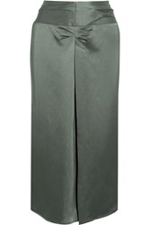 Isabel Marant Rise Ruched Satin Skirt Army Green