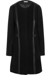 Tory Burch Heather Leather Trimmed Textured Wool Blend Coat