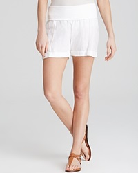 Moon And Meadow Fold Over Linen Shorts White