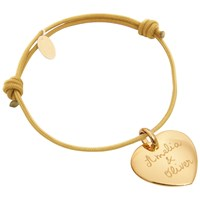 Merci Maman Personalised 18Ct Gold Plated Heart Bracelet Beige