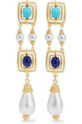 Ben Amun Gold Tone Faux Pearl And Stone Earrings One Size