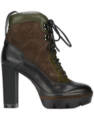 Santoni Chunky Heel Lace Up Boots Black