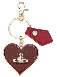 Vivienne Westwood Anglomania Heart Keyring Calf Leather Metal Red