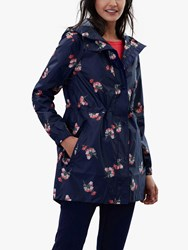 Joules Golightly Pack Away Waterproof Floral Print Coat Navy Posy