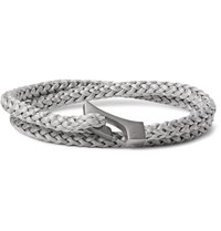Miansai Ipsum Woven Rope And Rhodium Plated Wrap Bracelet Gray