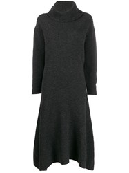 Pringle Of Scotland Ribbed Roll Neck Dress Grey