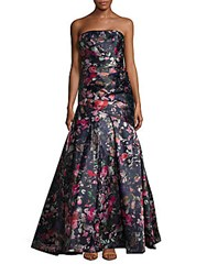 Monique Lhuillier Printed Straight Across Strapless Gown Midnight