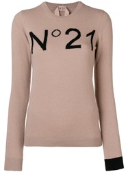 N 21 No21 Crew Neck Logo Sweater Pink And Purple