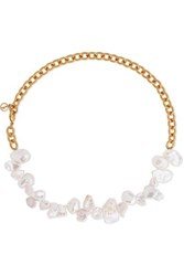 Anissa Kermiche Two Faced Shelley Gold Plated Pearl Necklace One Size