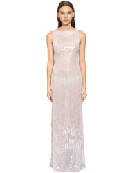 Alberta Ferretti Open Back Beaded And Sequined Long Dress Silver