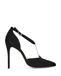 Reiss Keira Metal T Bar Pointed Toe Pumps Black Gold