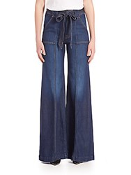 7 For All Mankind Self Tie Belted Palazzo Jeans Saint Tropez Night