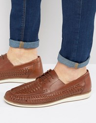 Red Tape Woven Lace Up Shoes Tan