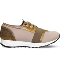 Office Action Neoprene And Leather Trainers Rose Gold
