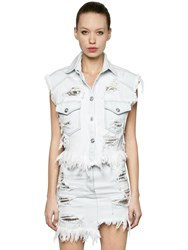 Versus Cotton Denim Vest W Metal Mesh Inserts