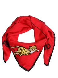 Kenzo Tiger Printed Cotton Silk Square Scarf Red