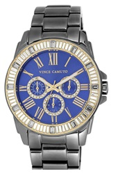 Vince Camuto Crystal Bezel Multifunction Bracelet Watch 51Mm Silver Blue