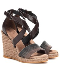 a90c137ebfd Brunello Cucinelli Embellished Leather Wedge Espadrilles Brown