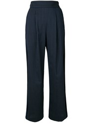 Undercover Pinstripe Pleated Trousers Blue