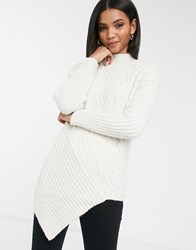 River Island Asymmetric Cable Knit Sweater In Cream