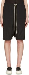 Rick Owens Black Drawstring Pod Shorts