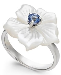 Macy's Mother Of Pearl And Tanzanite 1 4 Ct. T.W. Flower Statement Ring In Sterling Silver White