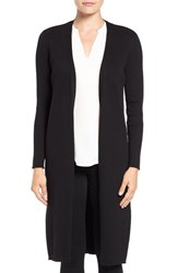 Vince Camuto Women's Open Front Ribbed Cotton Maxi Cardigan Rich Black