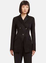 Proenza Schouler Frayed Double Breasted Blazer Jacket Black
